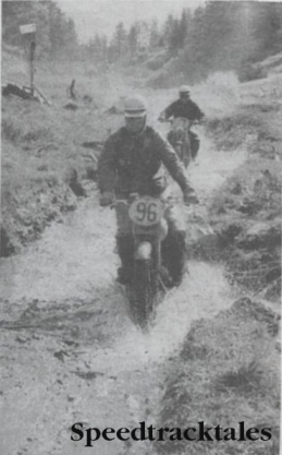 Photo Czechoslovakia's Z. Polanka (CZ) leads German rider J. Abt (DKW) through a stream bed in the same area. ISDT 1960
