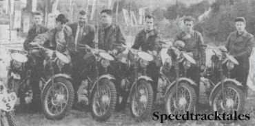 Photo - The winning Austrian Trophy team. All Puch mounted, they are KH Behrendt, H Leitner ,E Dornauer, J. Kleinschuster, R Koberl and S. Stuhlberger and Team Manager Scholgor. ISDT 1960