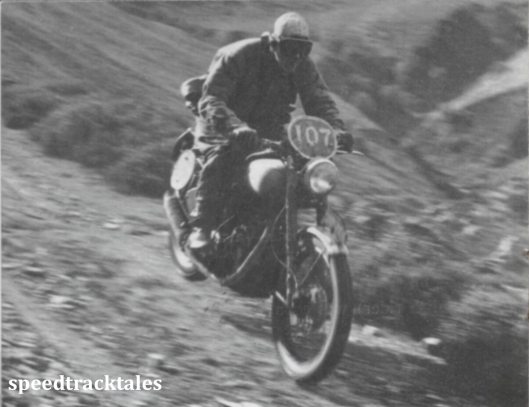 photo - a vivid impression on #107 B Nystrom , the Swedish rider, who won a gold medal in the strenuous 1950 trial. ISDT 1950 (Speedtracktales collection)