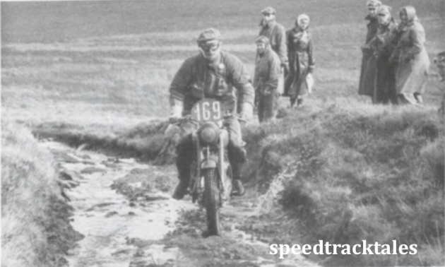 "photo - #163 Jack Stocker (""350 Bullet"") carefully picks his way along the slippery bed on the Warn y Sadfa ISDT 1950 (Speedtracktales collection)"