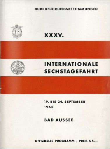scanned cover of official program of 35th ISDT 1960