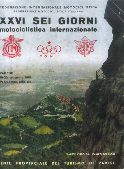 Image of scanned cover of official event programme of 26th ISDT 1951
