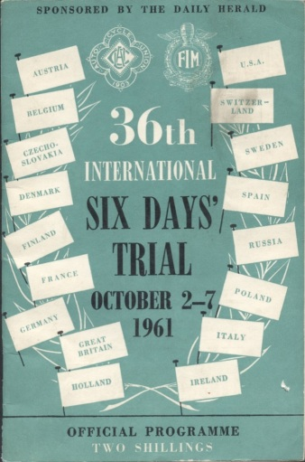 Image - scanned cover of Official Programme ISDT 1961 (Courtesy Kershaw Collection)