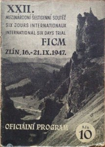 image - cover of the official event programme for the 22nd ISDT 1947 16 - 21 September 1947 held in Zlin in Czechoslovakia.