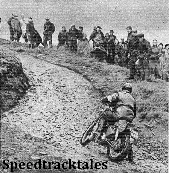 photo - WJ Stocker (s46 Royal Enfield) foots lustily as he climbs away from the Dilaw crossing ISDT 1954 (Speedtracktales Archive)