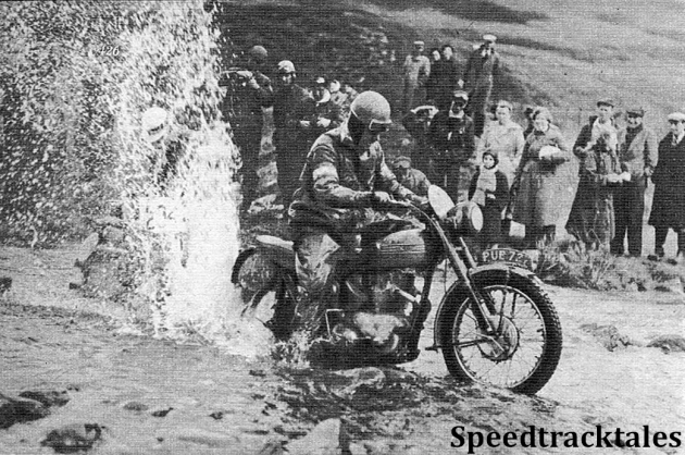 photo - BH Olie (649 Triumph), of Holland, inadvertabtly swamps H. Oelerich (345 Victoria), Germany at the Diluw water splash. This misfortune on Friday cost Oelerich his first marks loss of the week. ISDT 1954 (Speedtracktales Archive)