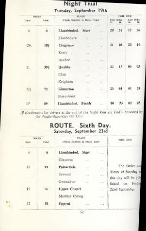 Image - scanned route description of course Night event and Day 6 ISDT 1950