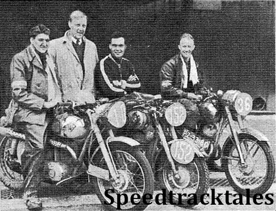 photo - Winnersof the Silver Vase - the Netherlands B team. Left to right: S. Schram (147 Maico), H Burik (manager), M. den Haan (248 Puch) and BL Jansema (148 Jawa) ISDT 1954 (Speedtracktales Archive)