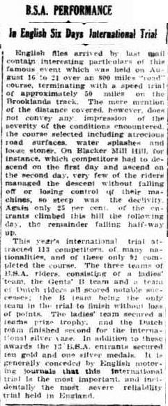 Image - scanned article in 'Sunday Times' Perth, Western Australia on the success of BSA at ISDT 1926