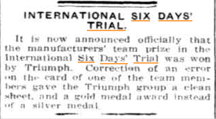 Image - an update on news of theTriumph team extracted from Sunday Times Perth Western Australia 28 October 1934 ISDT 1934