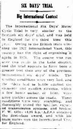 image - scanned article in Sunday Times, Perth Western Australia 13 Nov 1927 reporting on F W Giles's win ISDT 1927