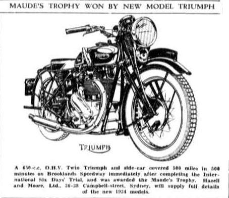 image - scanned from 'the Farmer and Settler' New South Wales 14 Dec 1933 with an illustration fo the Triumph 650cc sidecar that won the Maude's Trophy in the ISDT 1933