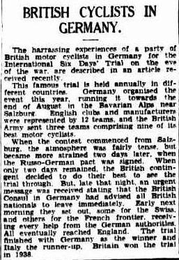 Image - scanner article in 'the Sydney Morning Herald' New South Wales, Australia 20th Oct 1939 reviewing issues affecting the Army teams at the ISDT 1939