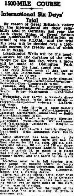 image - scanned article in the Courier Mail of Brisbane Australia 10 May 1937 setting out the course for the event and reflecting on the introduction of changes to class capacity and the introduction of the sealing of heads and barrels to crank cases for the event. ISDT 1937