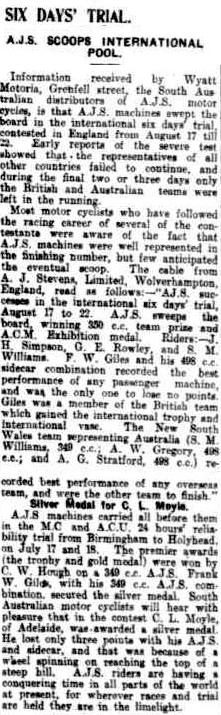 image - scanned article in the Register, Adelaide Australia 8 Sept 1925 including news of the success of the AJS team and also some Australian riders in a team at the event ISDT 1925