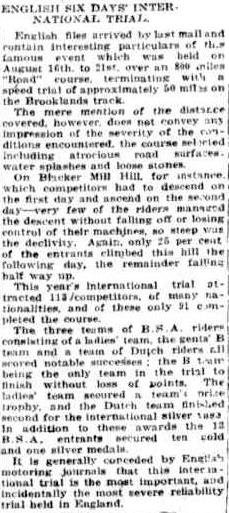 image - article from Townsville Daily Bulletin, Queensland, Australia 10 November 1926 with results ISDT 1926