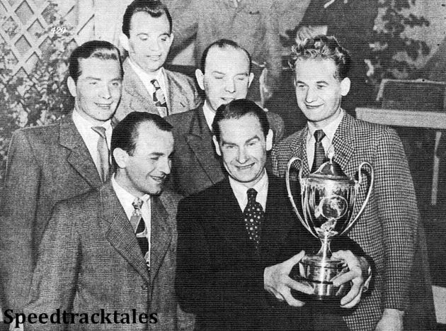photo - the victorious Czech Trophy team. Jan Krivka, team manager, stands behind J. Pudil, V Sedina, and S. Klimt (middle row) and J. Kubes and B. Roucke (front row) ISDT 1954 (Speedtracktales Archive)