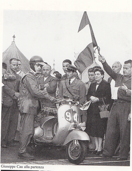 Photo of Scooter rider with group of Dignitaries at Start ISDT 1951