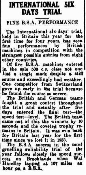 image - scanned article on BSA success in the event in the Westen Argus of Kalgoorlie, Western  Australia. 30 November 1937 ISDT 1937