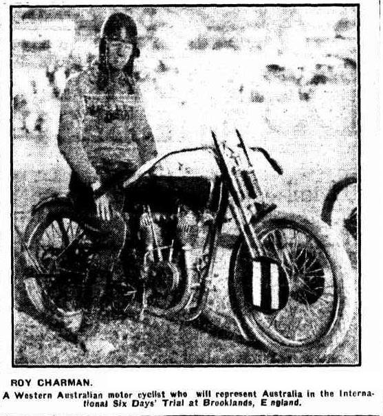 Image - scanned photo from 'the Western Mail' Perth, Western Australia 25th March 1926 of Roy Charman A Western Australian Motorcyclist who represented Australia in the ISDT 1926
