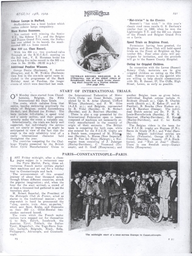 Photo of scanned image of 'the Motor Cycle' ISDT 1924