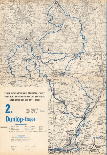 Image - scanned copy of course map Day 2 ISDT 1958 (Speedtracktales Archive)