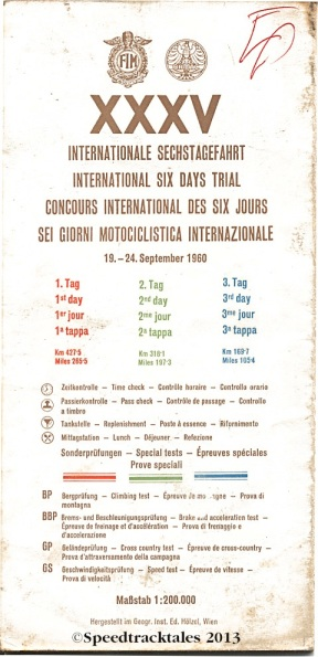 Image - scanned cover and key to route map days 1-3 ISDT 1960