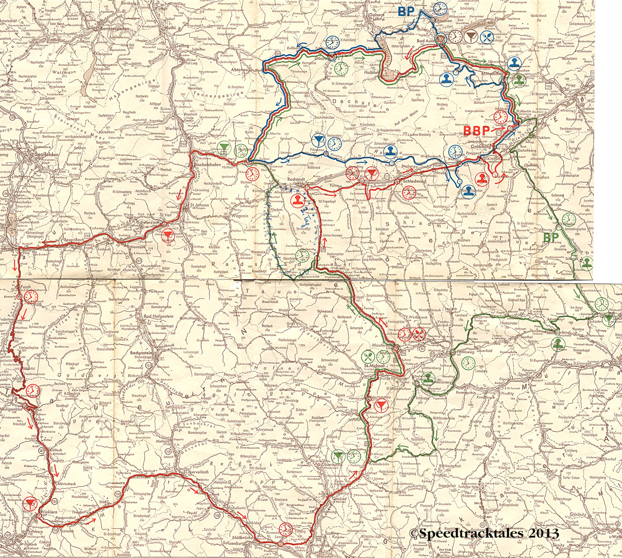 image scanned route map days 1 3 isdt 1960