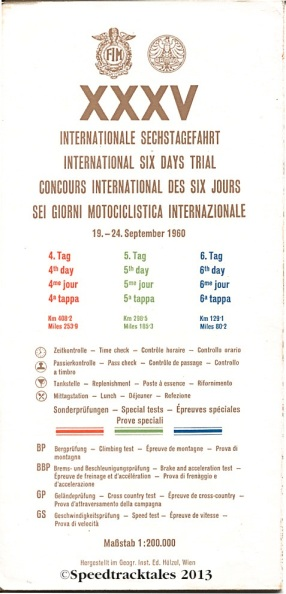 Image - scanned cover and key to route map days 4-6 ISDT 1960