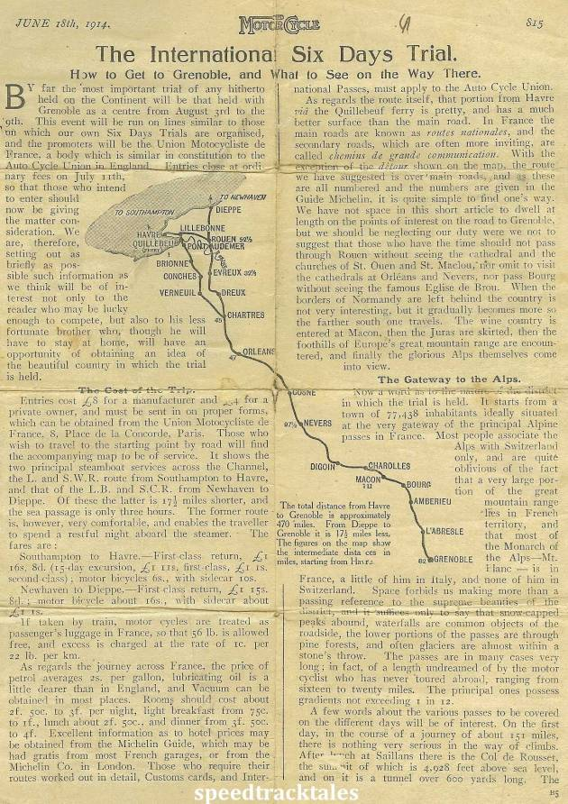 Image - scanned page from 'the Motor Cycle' 18th June 1914 with travel and entry details for ISDT 1914 (Courtesy of the Greenwood Family Collection)