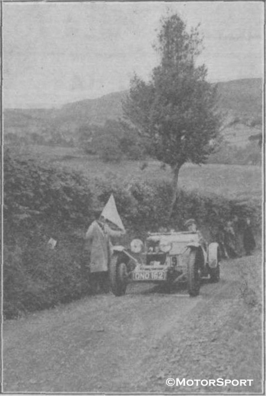 Photo - Mrs Hague's Riley at the Acceleration Test on the Allt-y-Bady Welsh Car Trial 1938