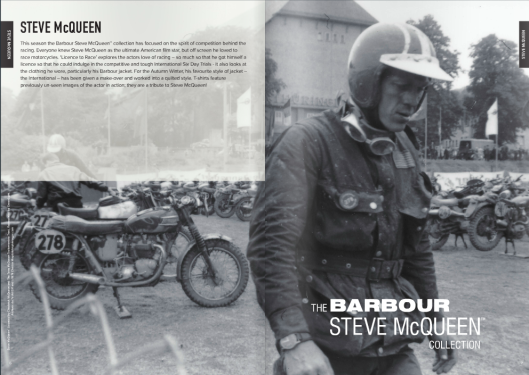 Photo - Barbour brochure image of McQueen walkign across the parc fermé and providing an opportunity to see many of the bikes that took part in the event. ISDT 1964