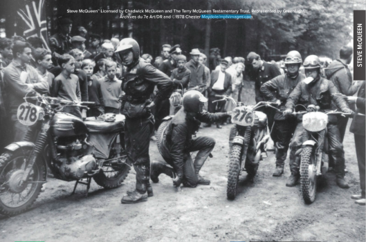 Photo and a rare glimse of a different view of a famous time check stop where riders awaiting for their time to arrive to enter the check usually stop to chat, tinker with bikes and relive sketchy moments they just avoided. ISDT 1964