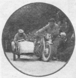 """Photo - scanned image - #83 H Zurr (494 BMW sc) finds a 1 in 31/2 gradient too much for the available """"horses"""" ISDT 1937"""
