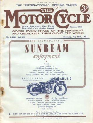 Image of cover of ' The Motor Cycle' Thursday July 15th 1937