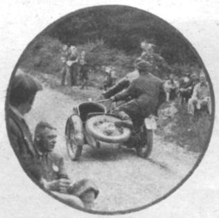 image - F. Juhan (598 Jawa sc), of the Czechoslovakian Trophy team, in action. Note how the acrobatic sidecar passenger hold onto a strap. ISDT 1937
