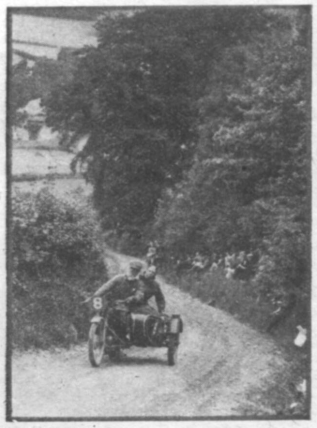 image #8 L.W.C. Hall (499 Rudge sc) out to defeat the wheelspin bogey, has his passenger on the rear mudguard