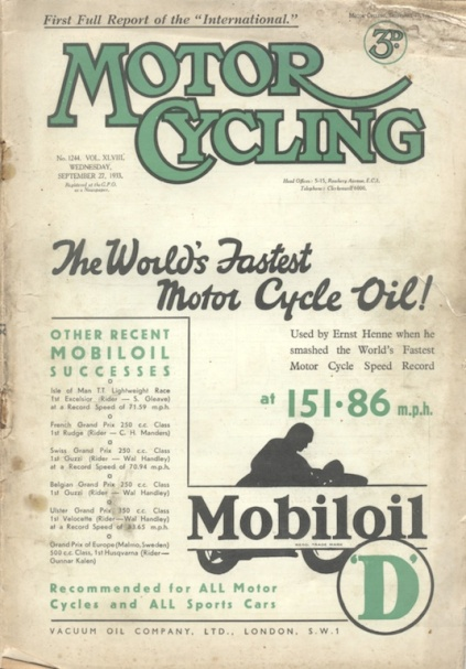 Image of scanned cover MotorCycling (from Speedtracktales archive)