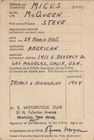 Photo of Steve McQueen's FIM race license from 1964 (Courtesy Bonhams)