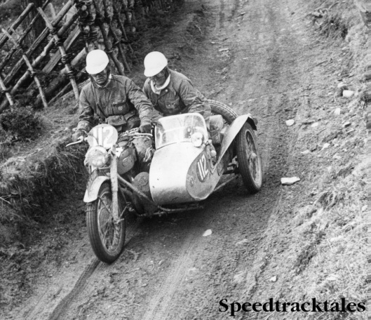 Photo - Reg Wagger with Denise in BSA 650cc Gold Flash with sidecar [LPX 918] ISDT 1952 (Images STT Archive / Geoff Wagger