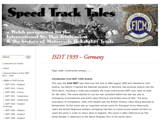The ISDT event most appearing in search engine referrals was the very controversial ISDT 1939