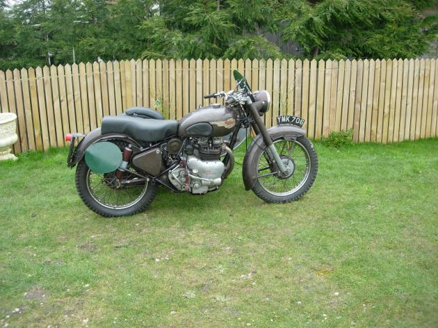 Picture of the 1953 Royal Enfield 700cc Meteor Trials Combination Brian Nash rode in the ISDT 1955
