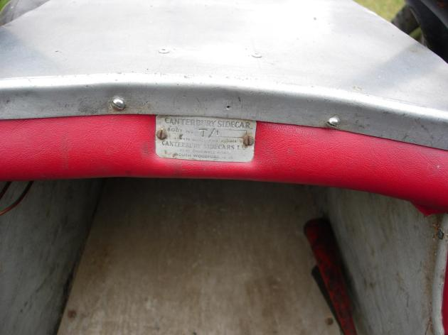 Photo - Serial No Plate of first Canterbury ISDT sidecar