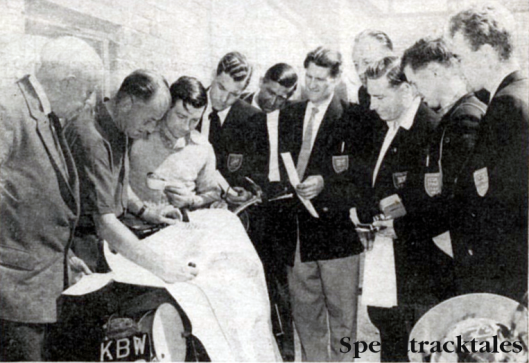 Photo - Stoker (second from left)briefing the British Team for the 1959 ISDT in Czechoslovakia. On Jack's right is Harry Baughan, doyen of ISDT planning in this country.