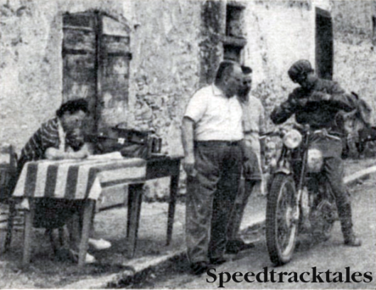 Photo- Stamp control shot of Stocker (499 Royal Enfield) in the 1948 ISDT at San Remo in Italy. On that occaision he was a member of the winning British Silver Vase team