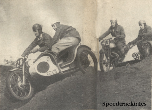 Photo - Hankley Common in 1953; Jack Stoker (499 Royal Enfield) leads Bert Brett (596 Norton) in the Sidecar