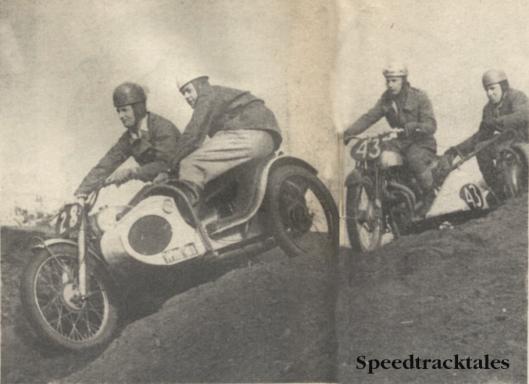 Photo - Hankley Common in 1953; Jack Stoker (499 Royal Enfield) leads Bert Brett (596 Norton) in the Sidecar