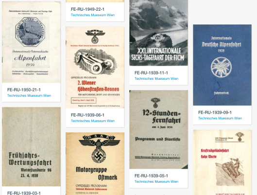 Browse the online library of historical motorsport programmes and pamphlets maintained by the Technisches Mueseum Wien
