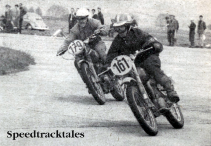 Photo - Dicemanship in the speed test: Swedens's #161 Rolph Tibblin (250 Husqvarna) leads West German Manfred Shiek (250 Maico)