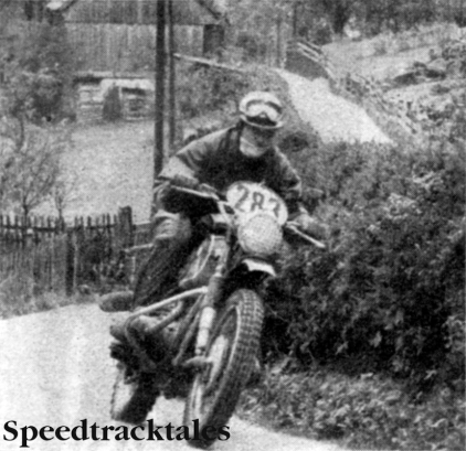 Photo - Ace performer amongst the big 'uns: West Germany's Sebastian Nachtmann swings his 600cc BMW through the swervery of Altaussee. ISDT 1960